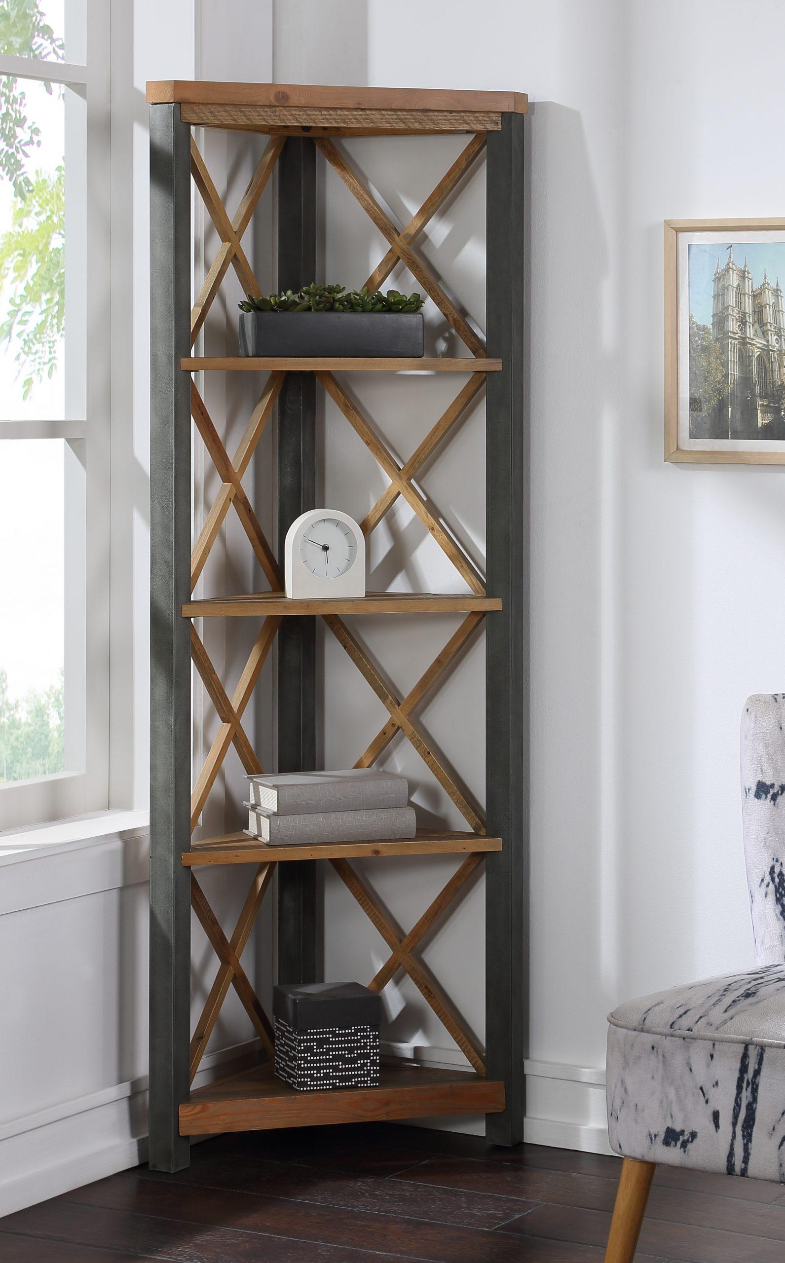 high 5-tier corner bookcase