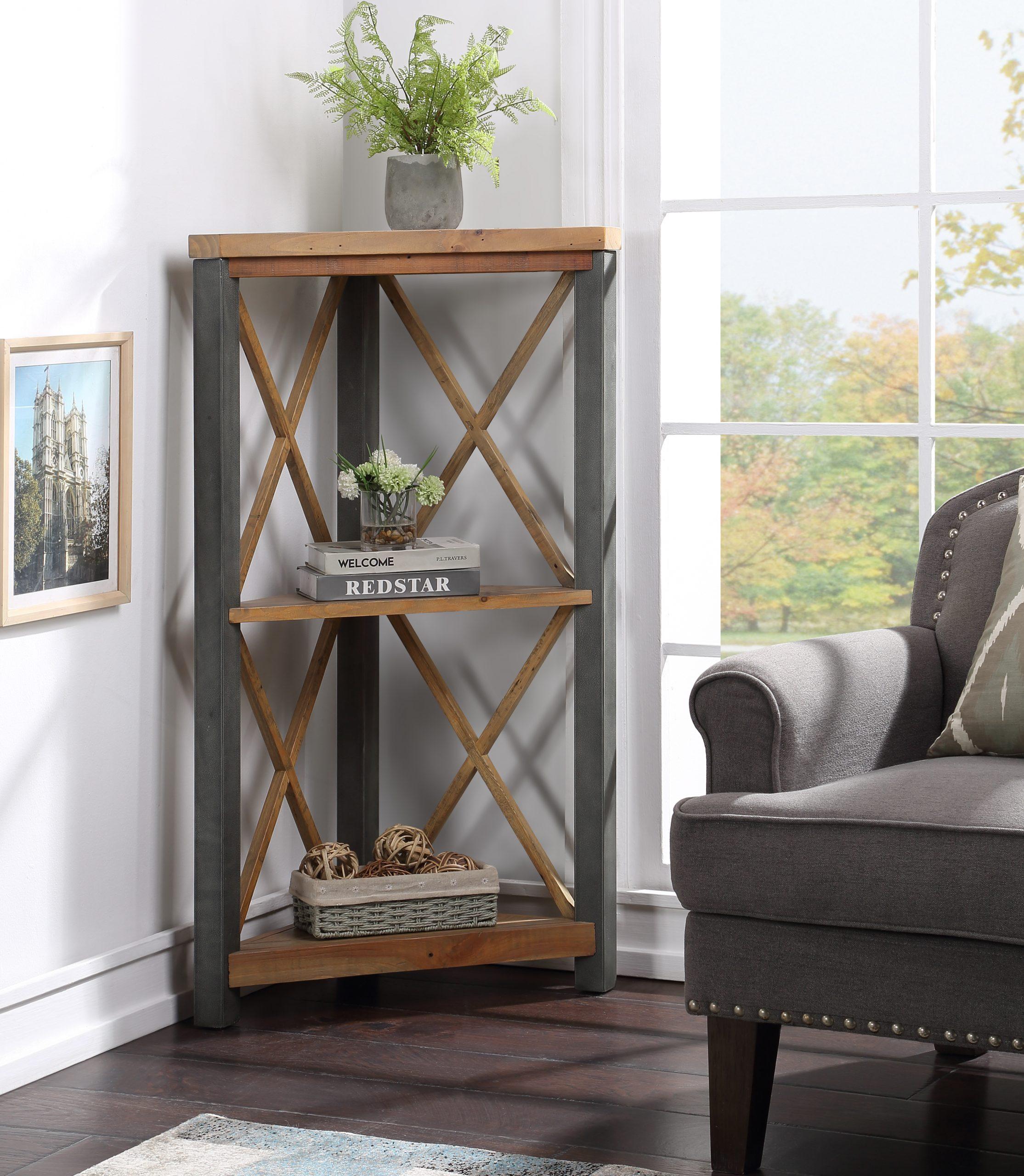 low corner bookcase