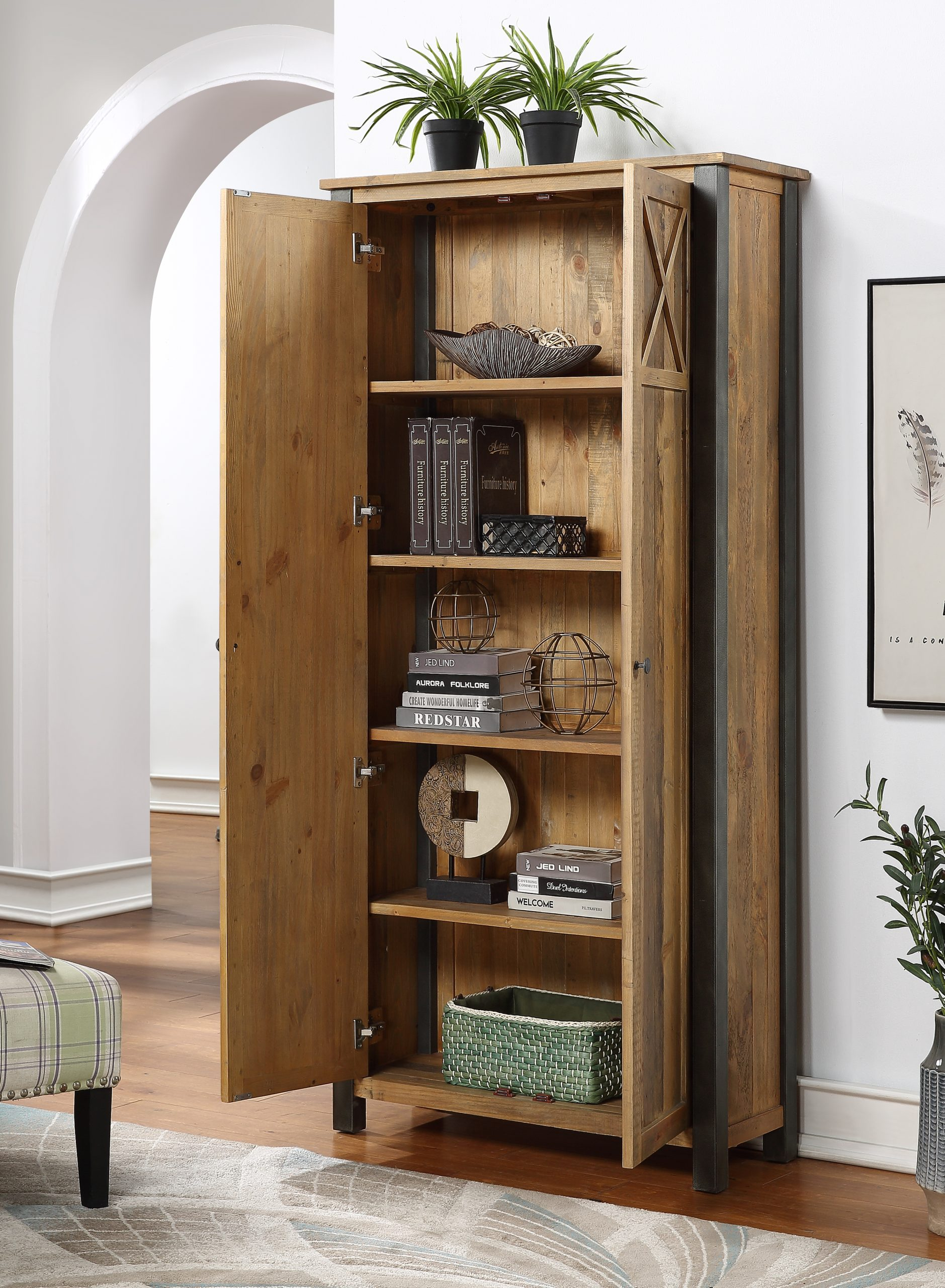 tall living room storage cabinet - open