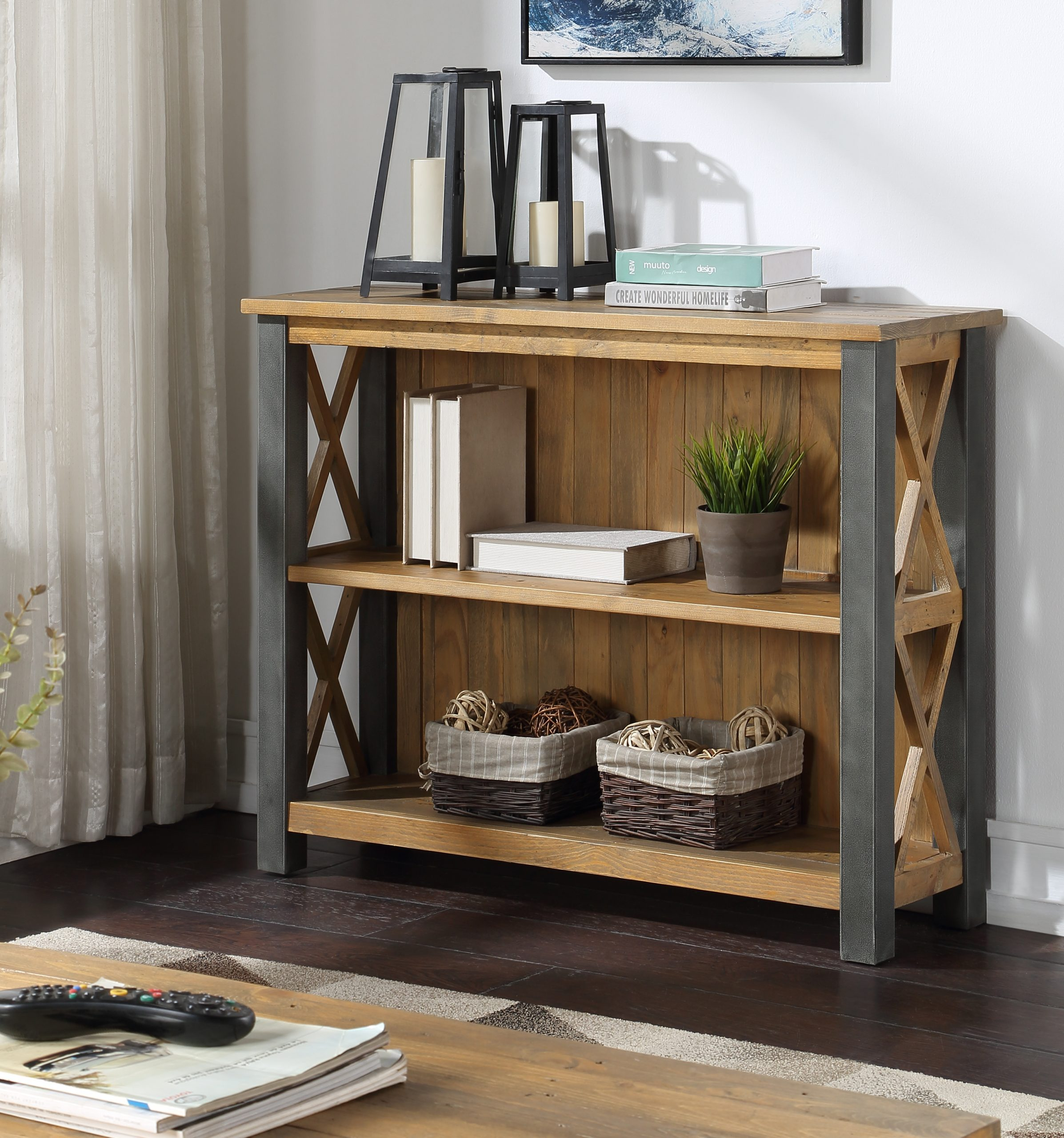 3-tier reclaimed wood bookcase