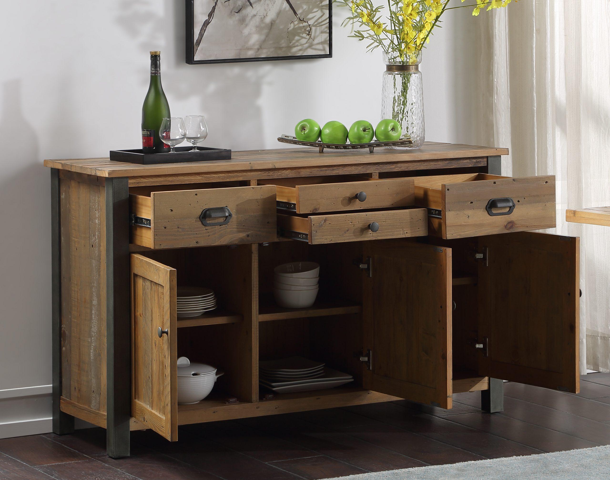 reclaimed wood sideboard - open