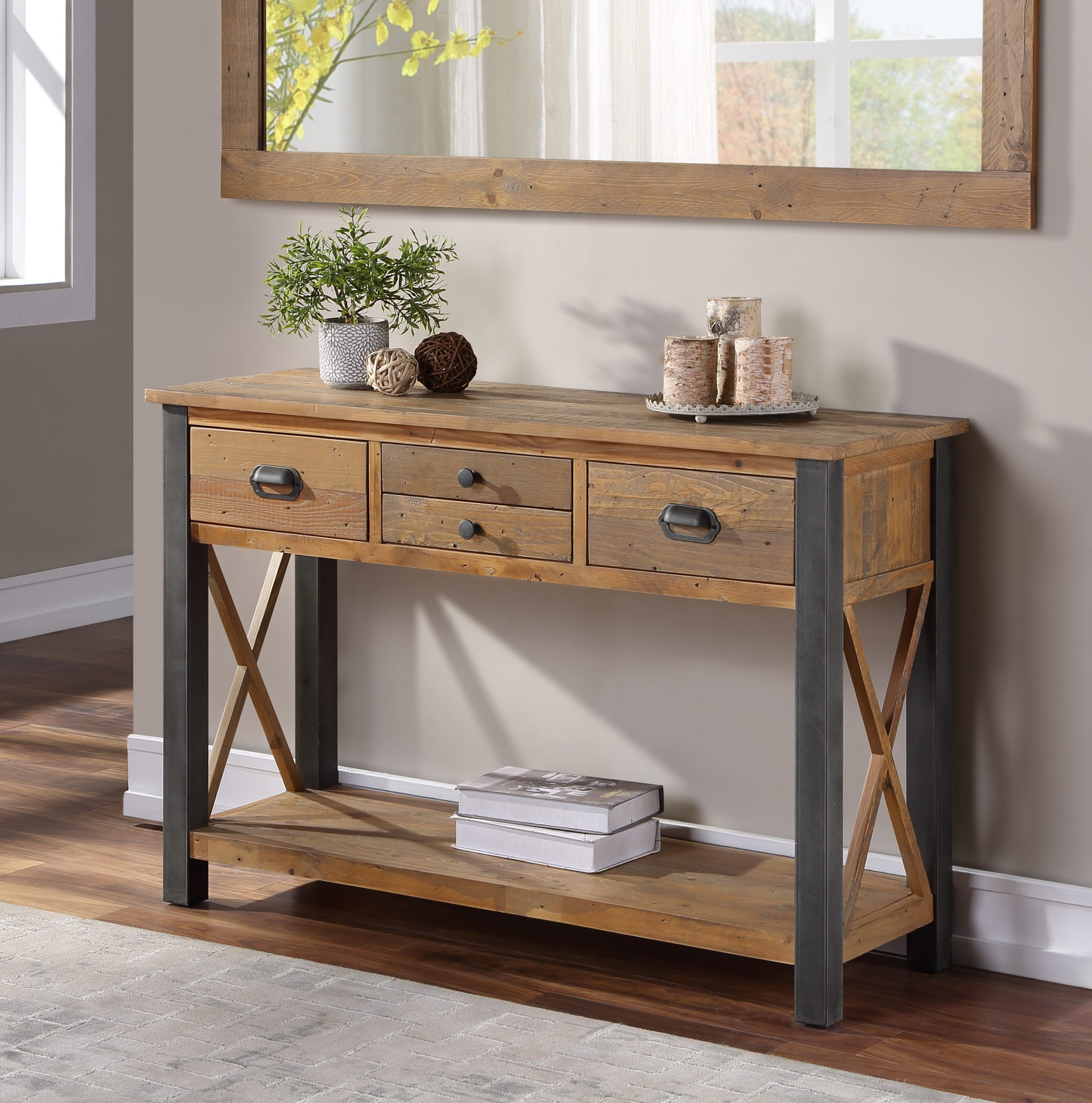 wqide console table with four drawers - open