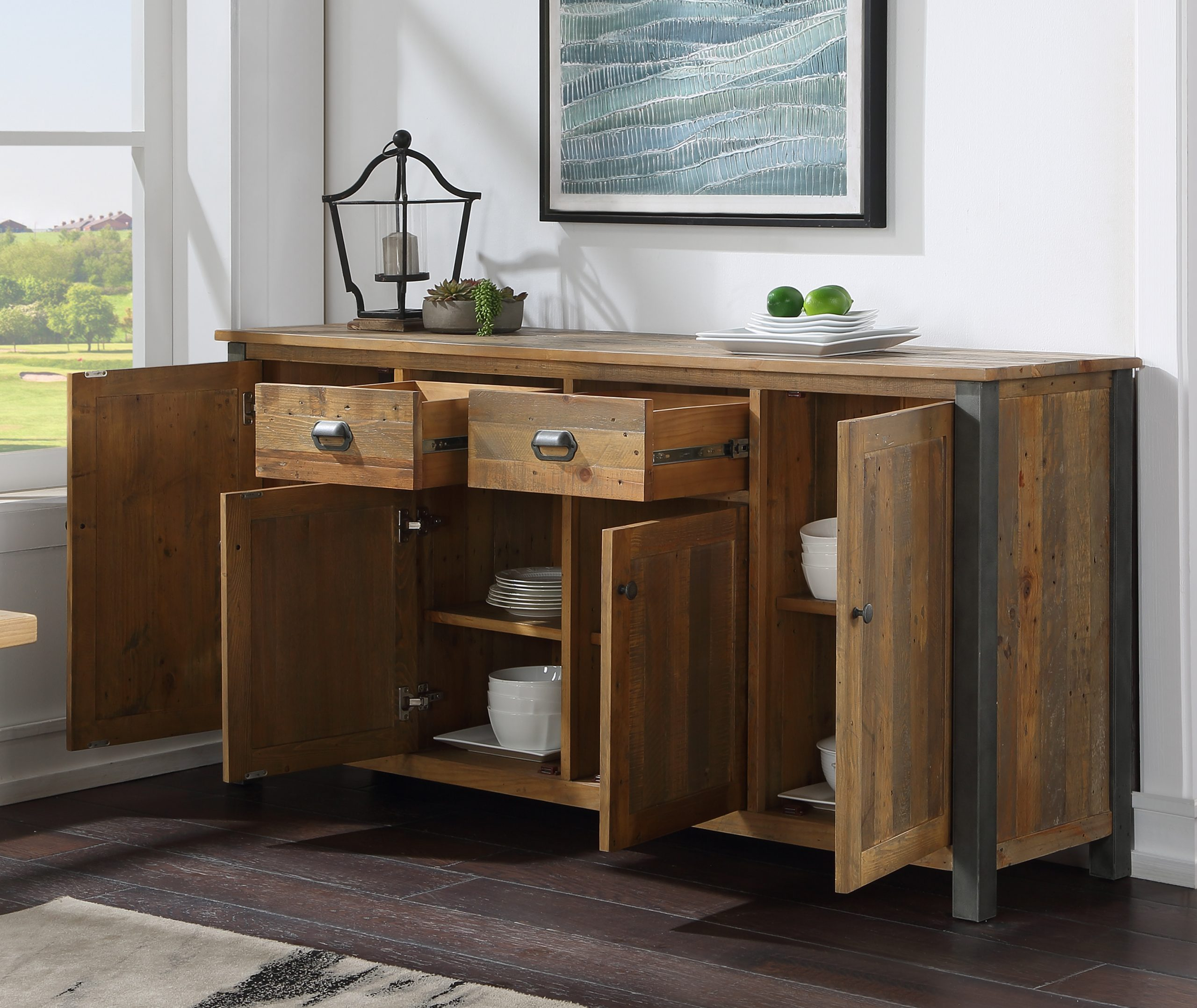 extra-large recycled wood sideboard - open