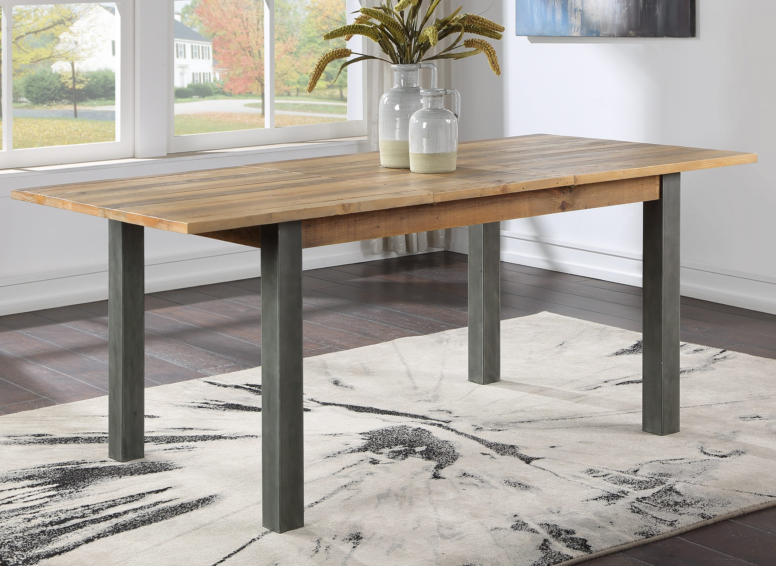 extending recycled wood dining table