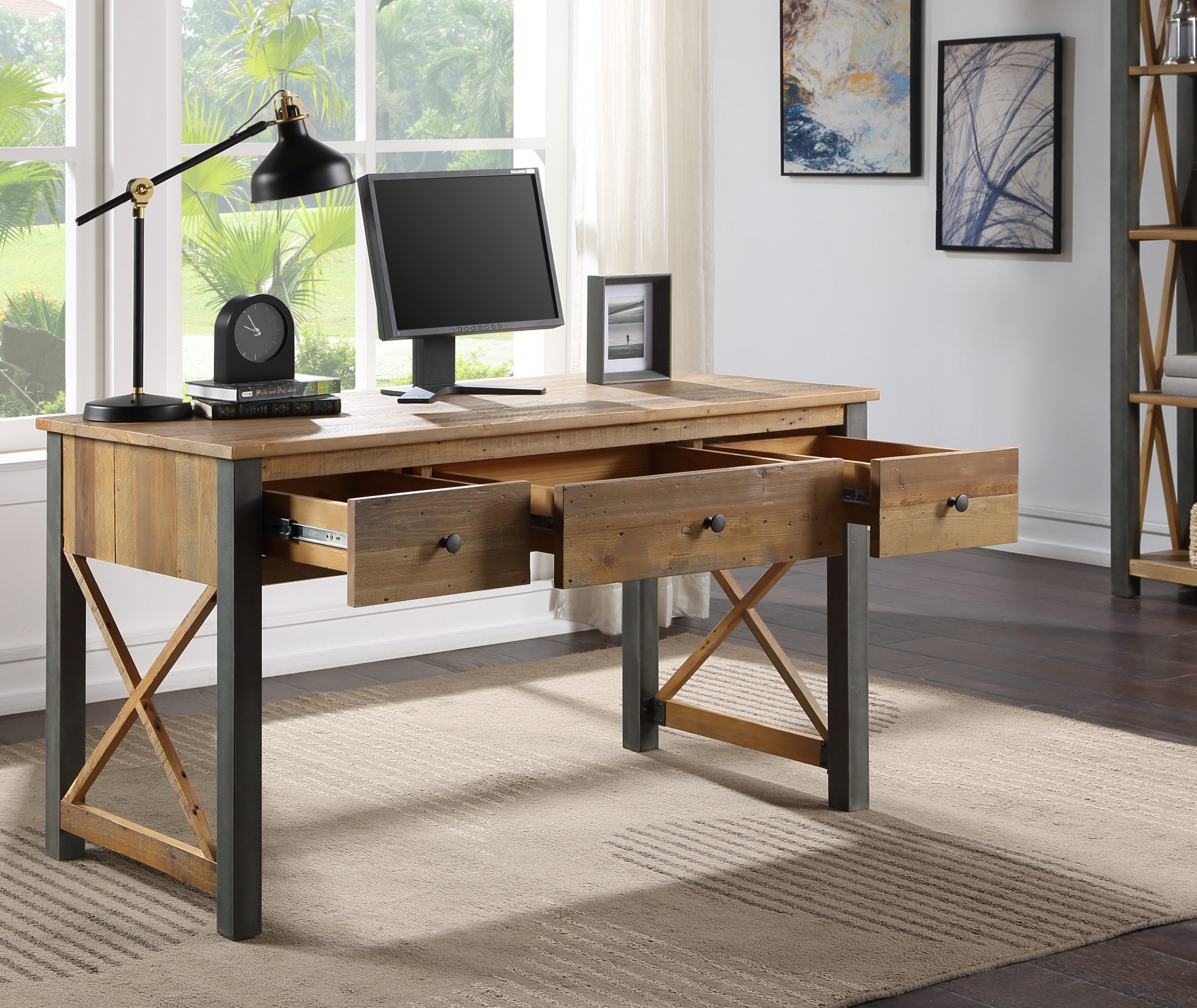 recycled wood three-drawer desk ... or dressing table