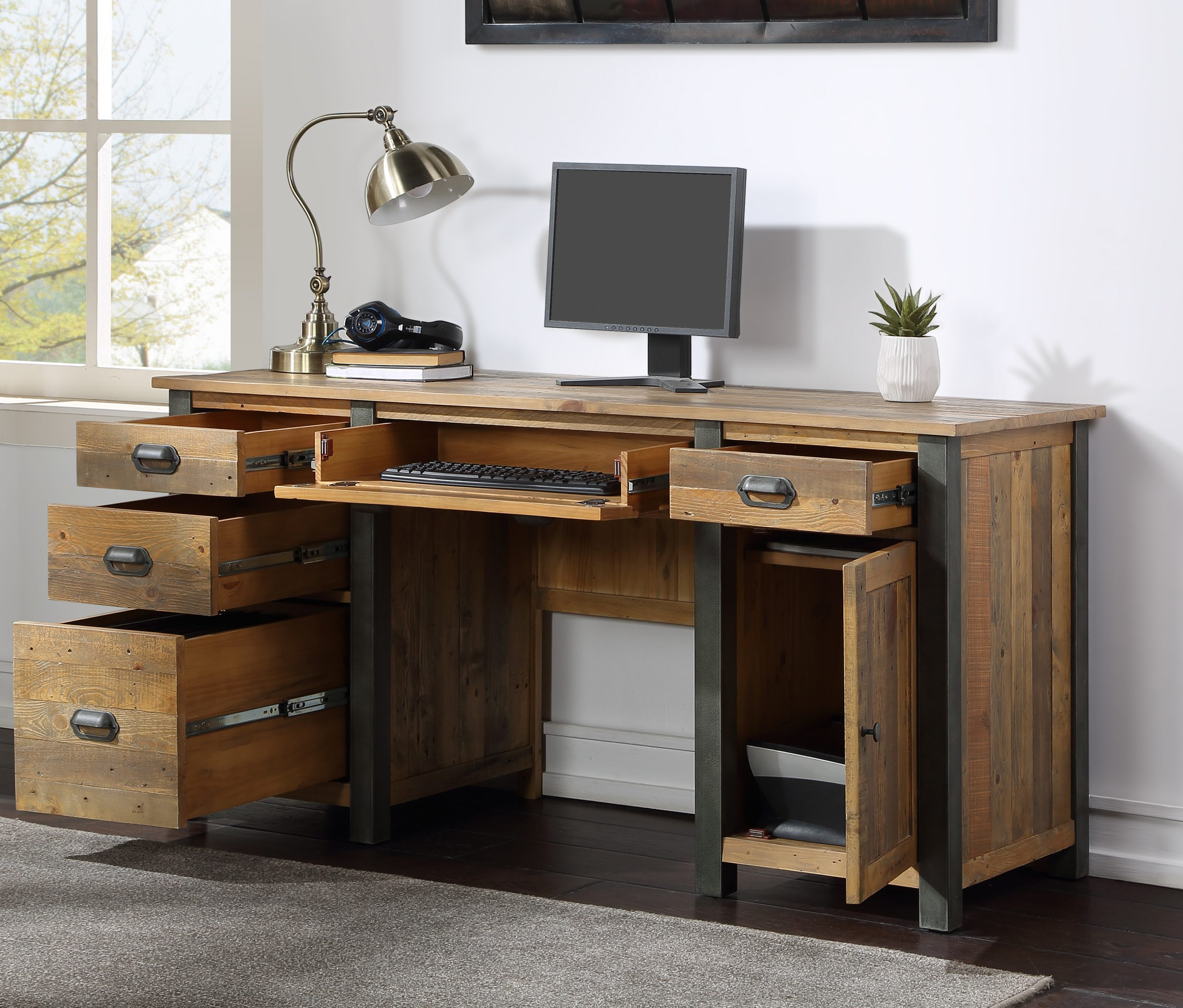 twin pedestal desk with open drawers