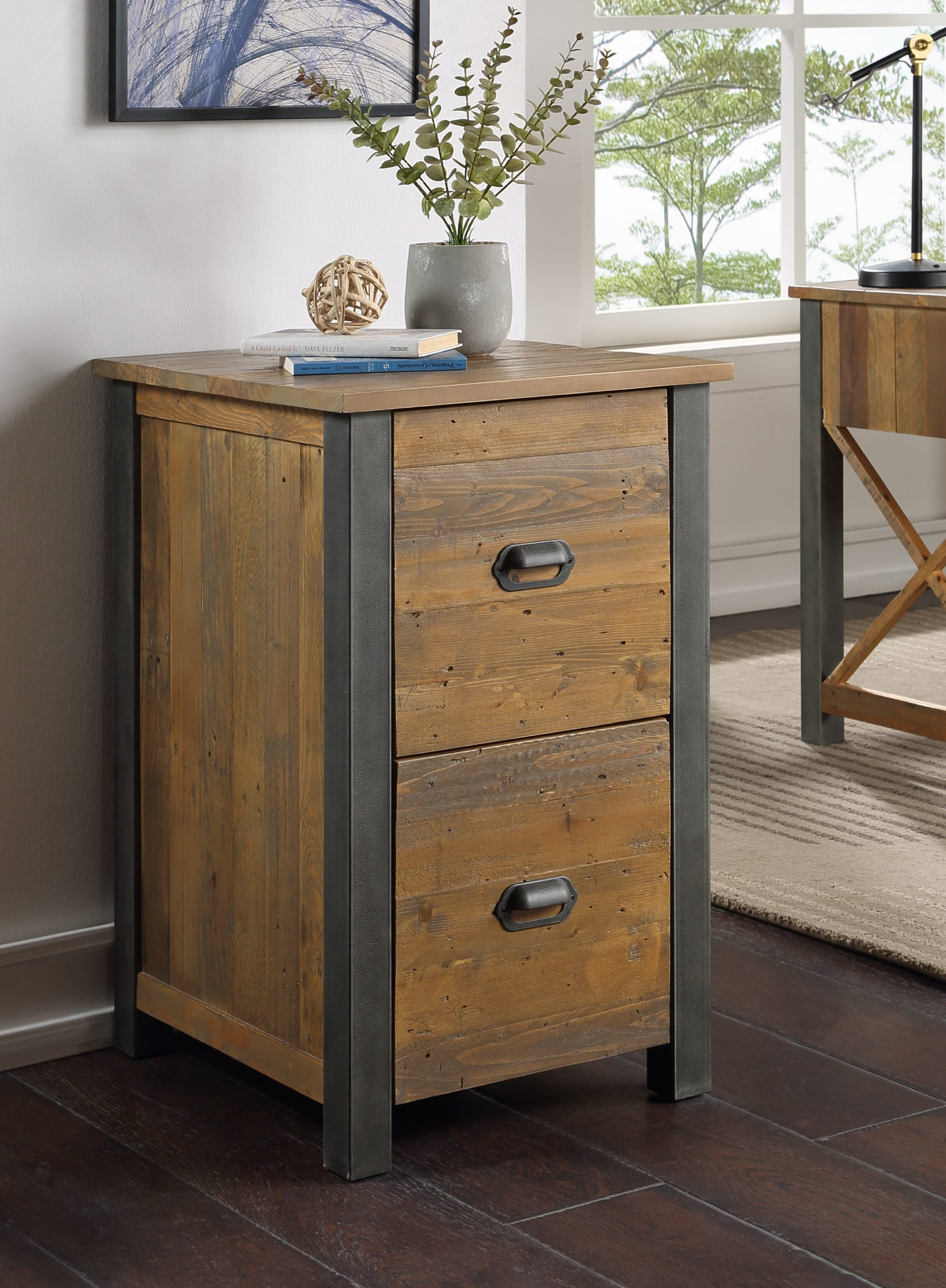 two drawer reclaimed wood filing cabinet