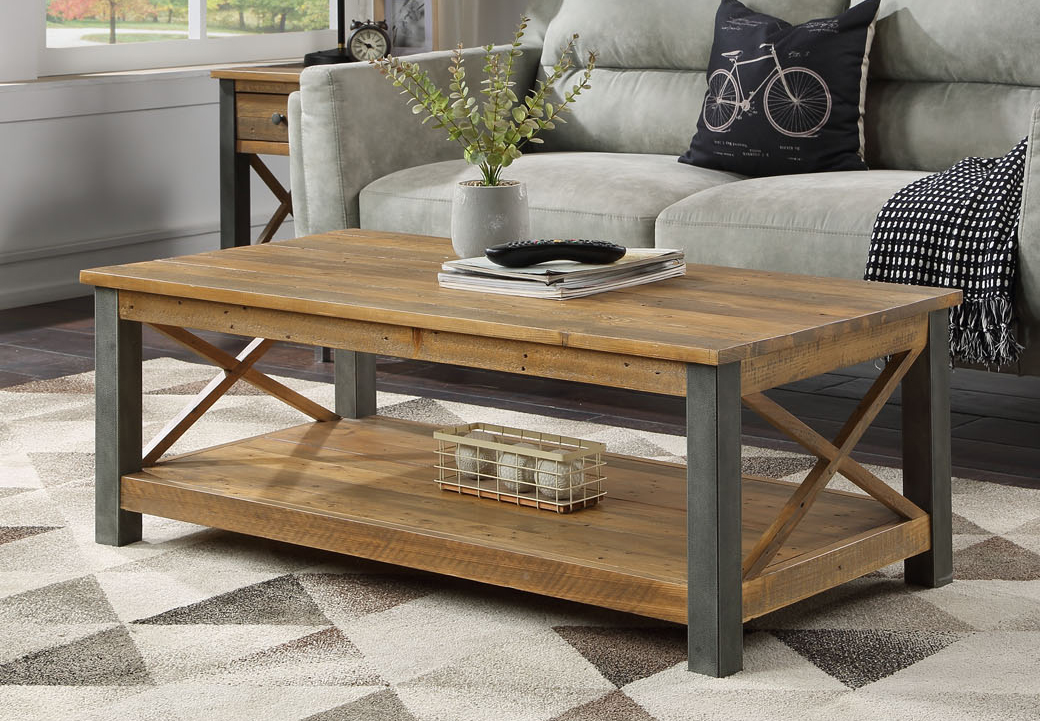 reclaimed wood coffee table with shelf