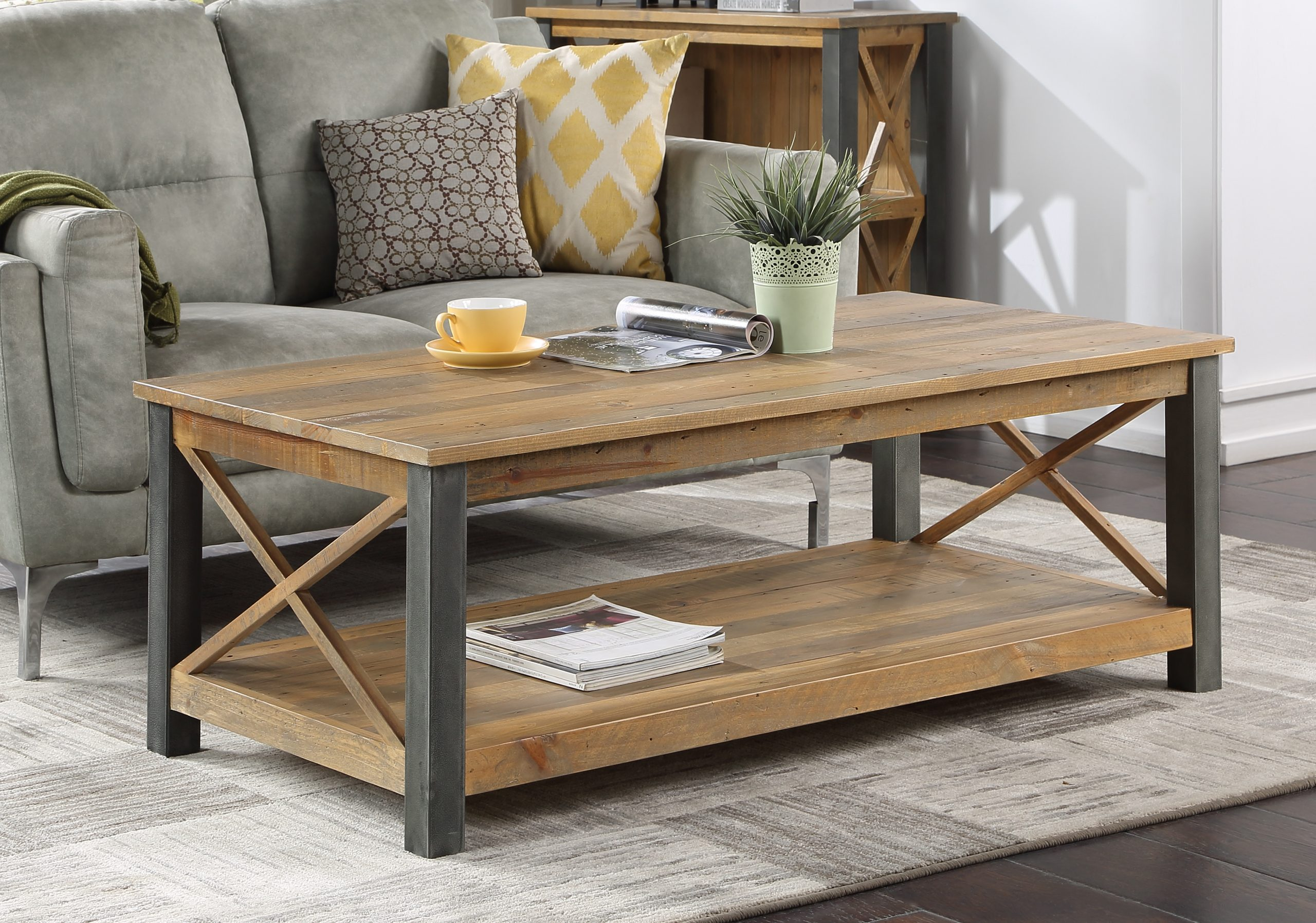 large reclaimed wood coffee table with metal legs