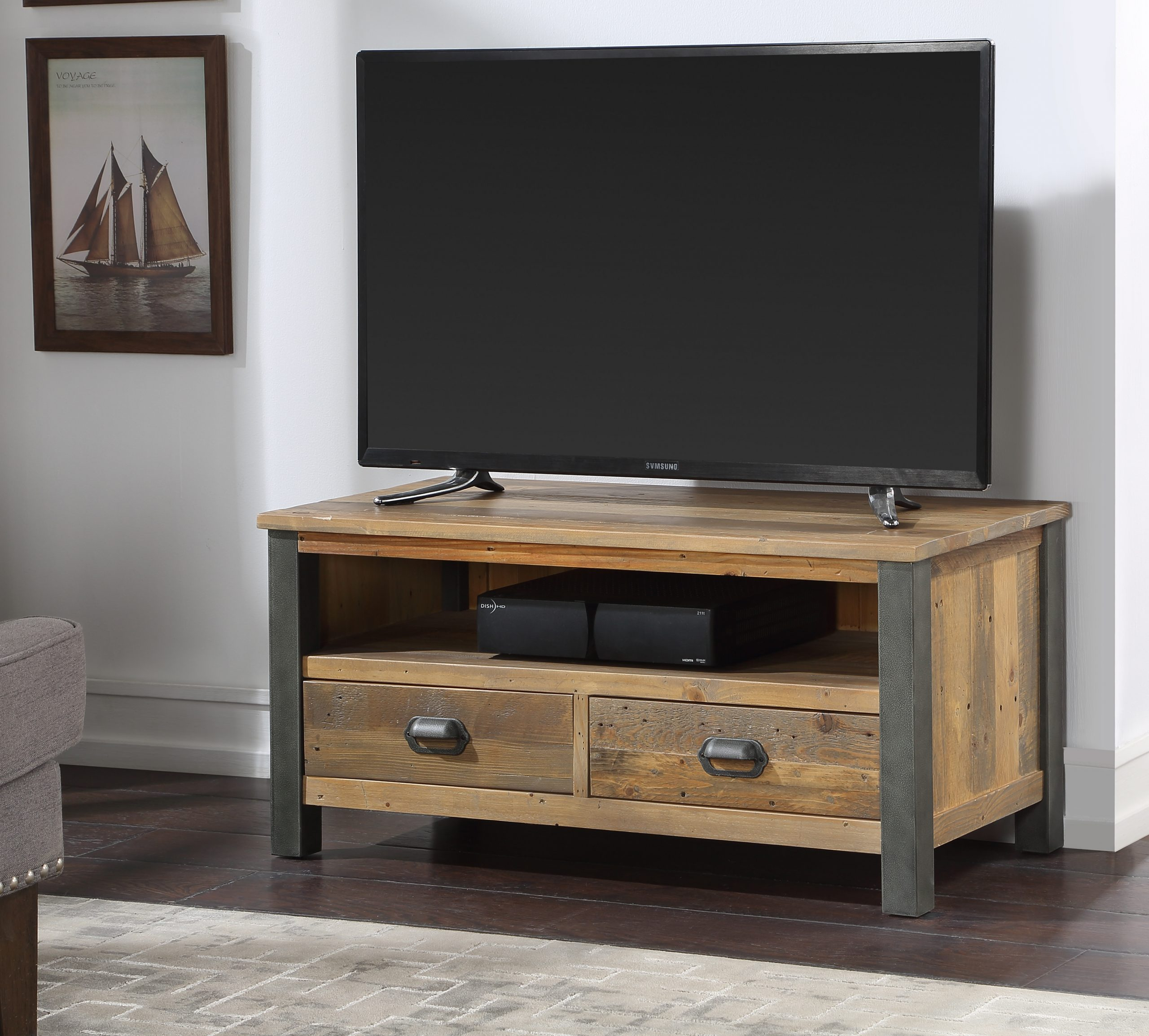 TV table with closed drawers
