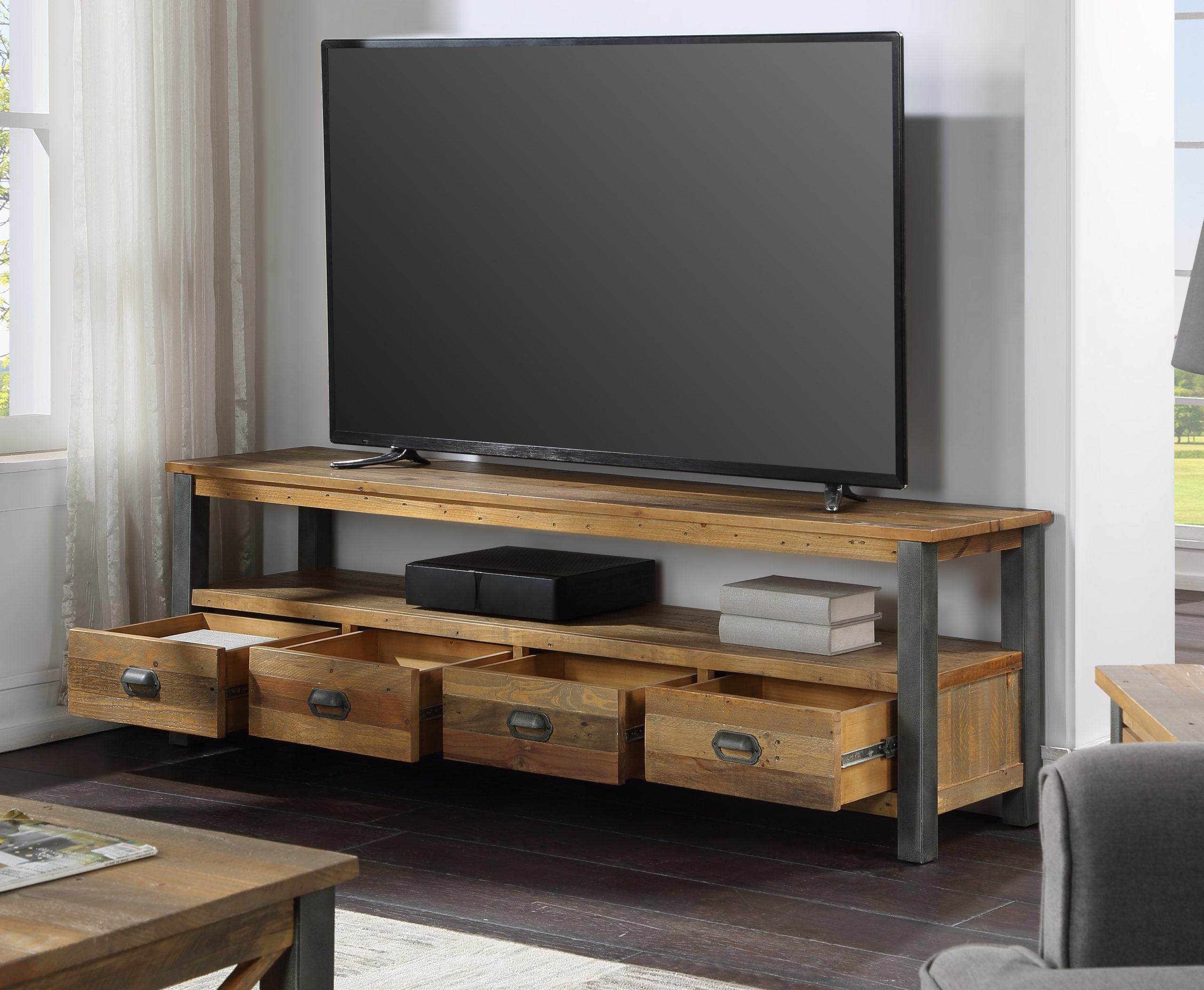 four drawer TV/HiFi cabinet - open