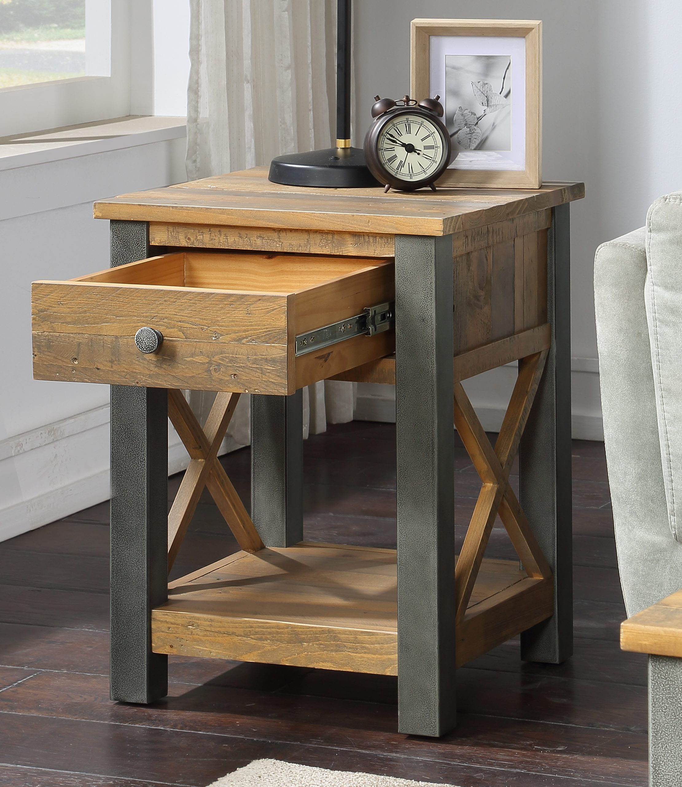 lamp table with open drawer