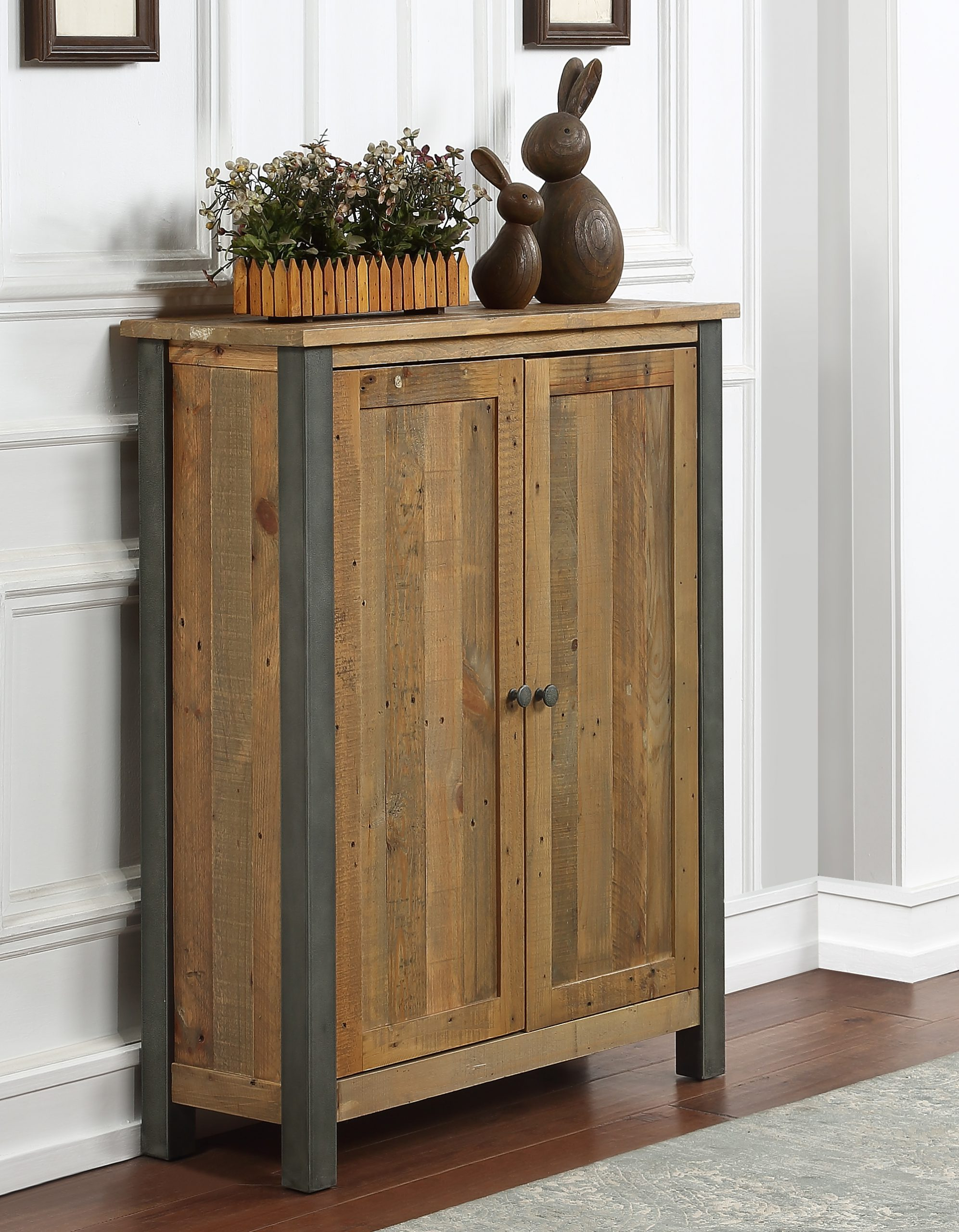 a wood and metal shoe cubboard