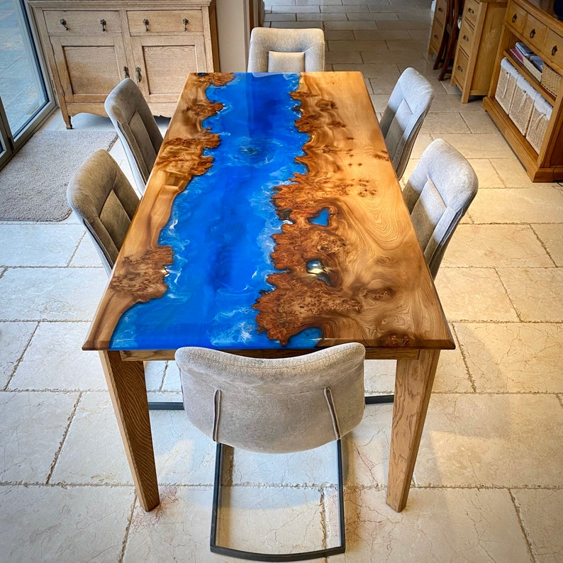 Blue and Brown River table