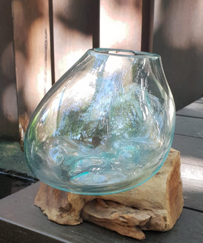 Molten Glass on Wood - Medium Bowl