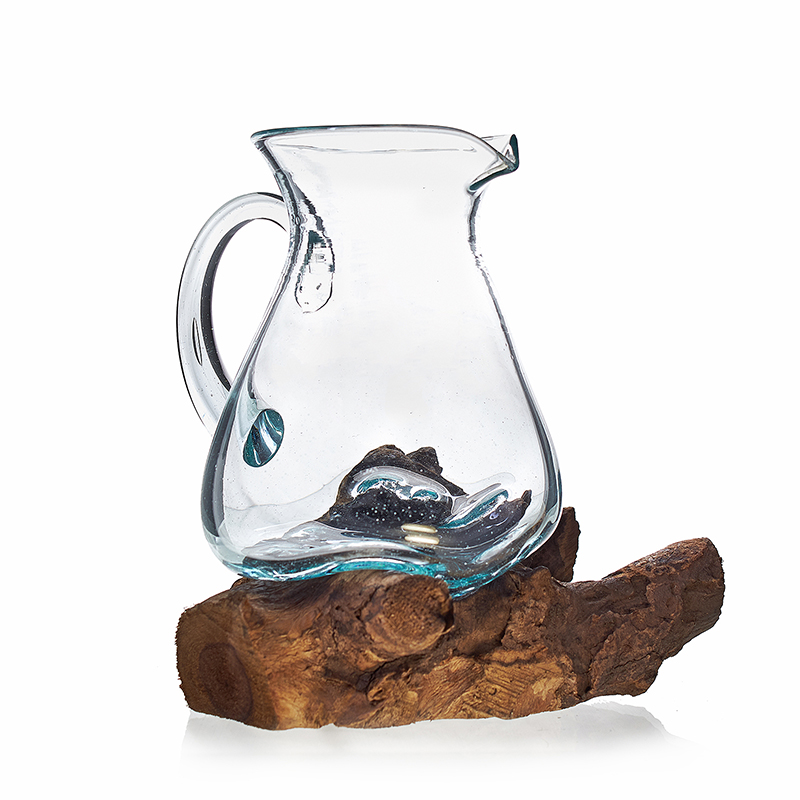 Molten glass on wood water jug