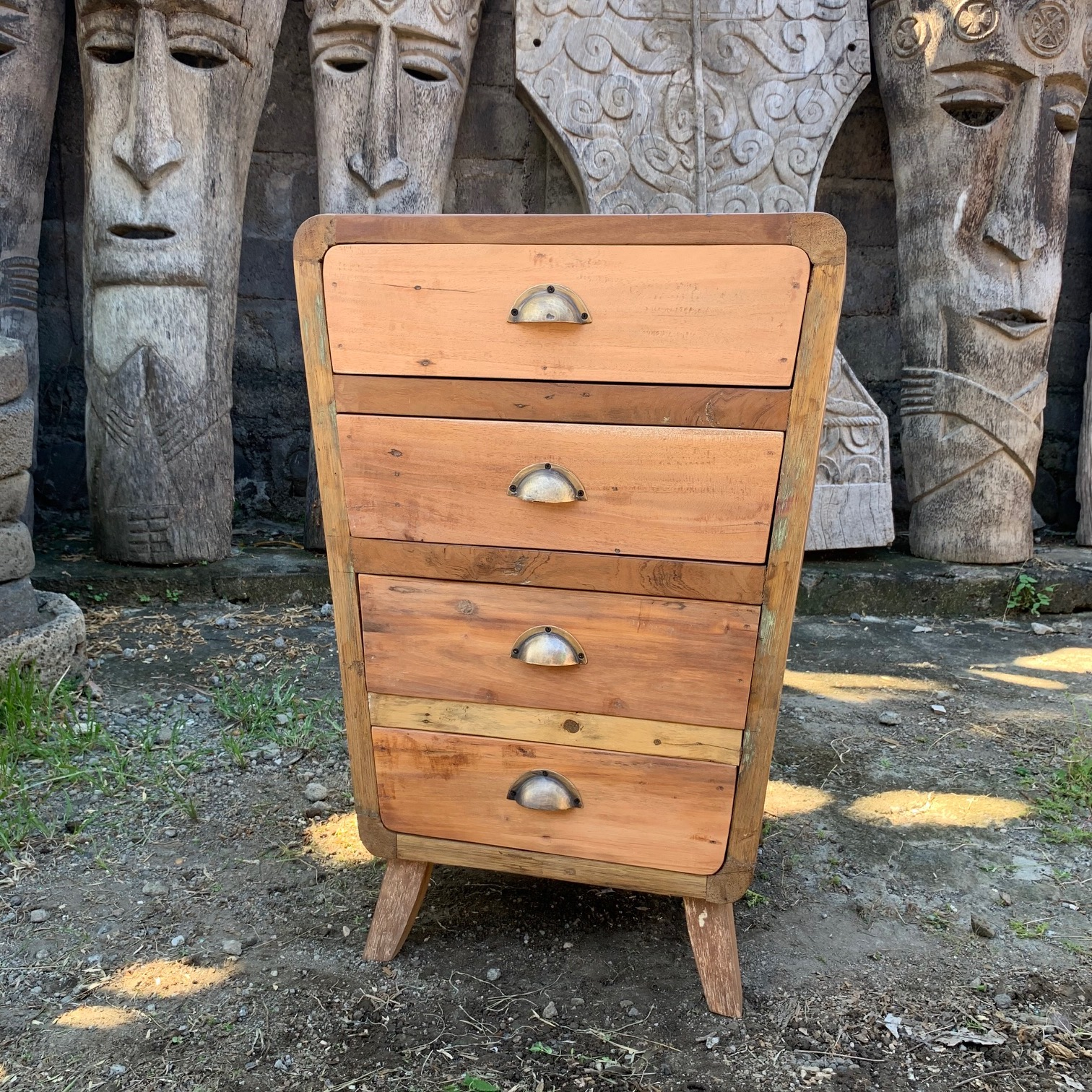 upcycled wood four-drawer storage chest