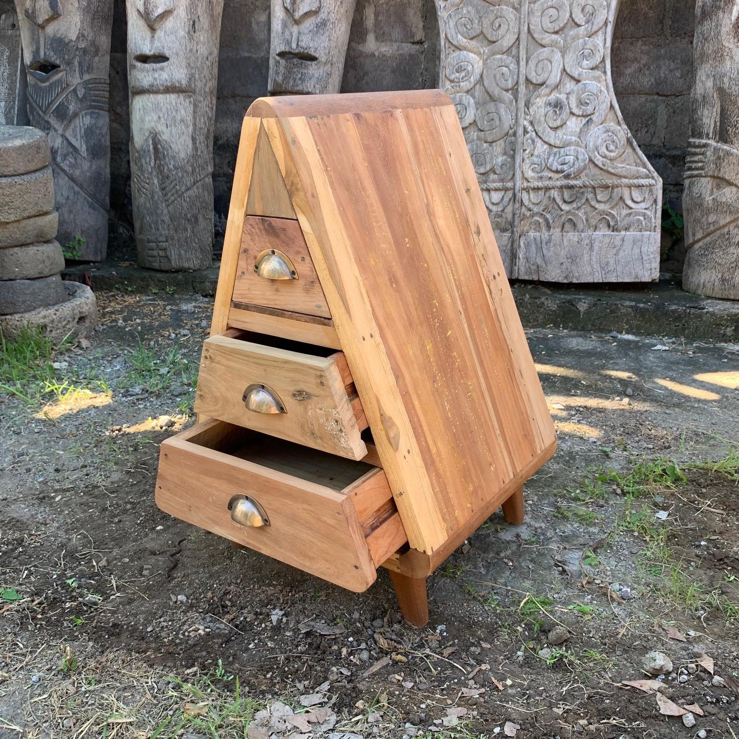 upcycled wood triangular three-drawer chest