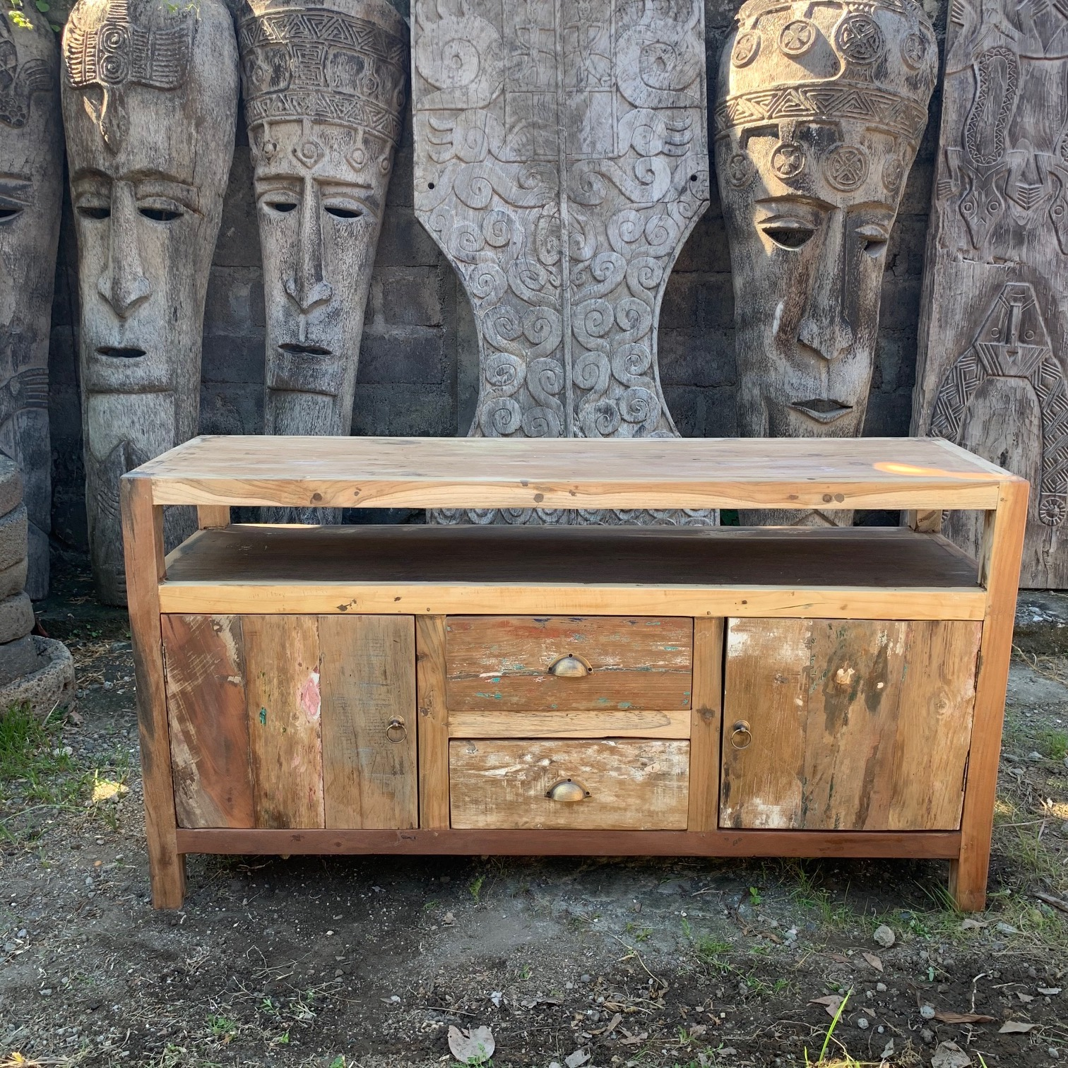 Large upcycled wood TV Stand