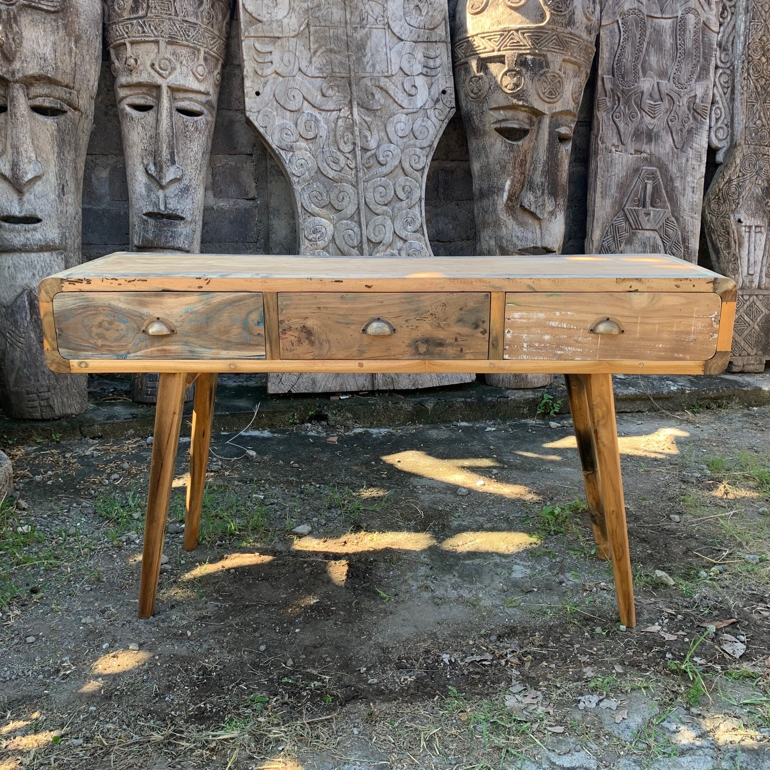 upcycled wood console table