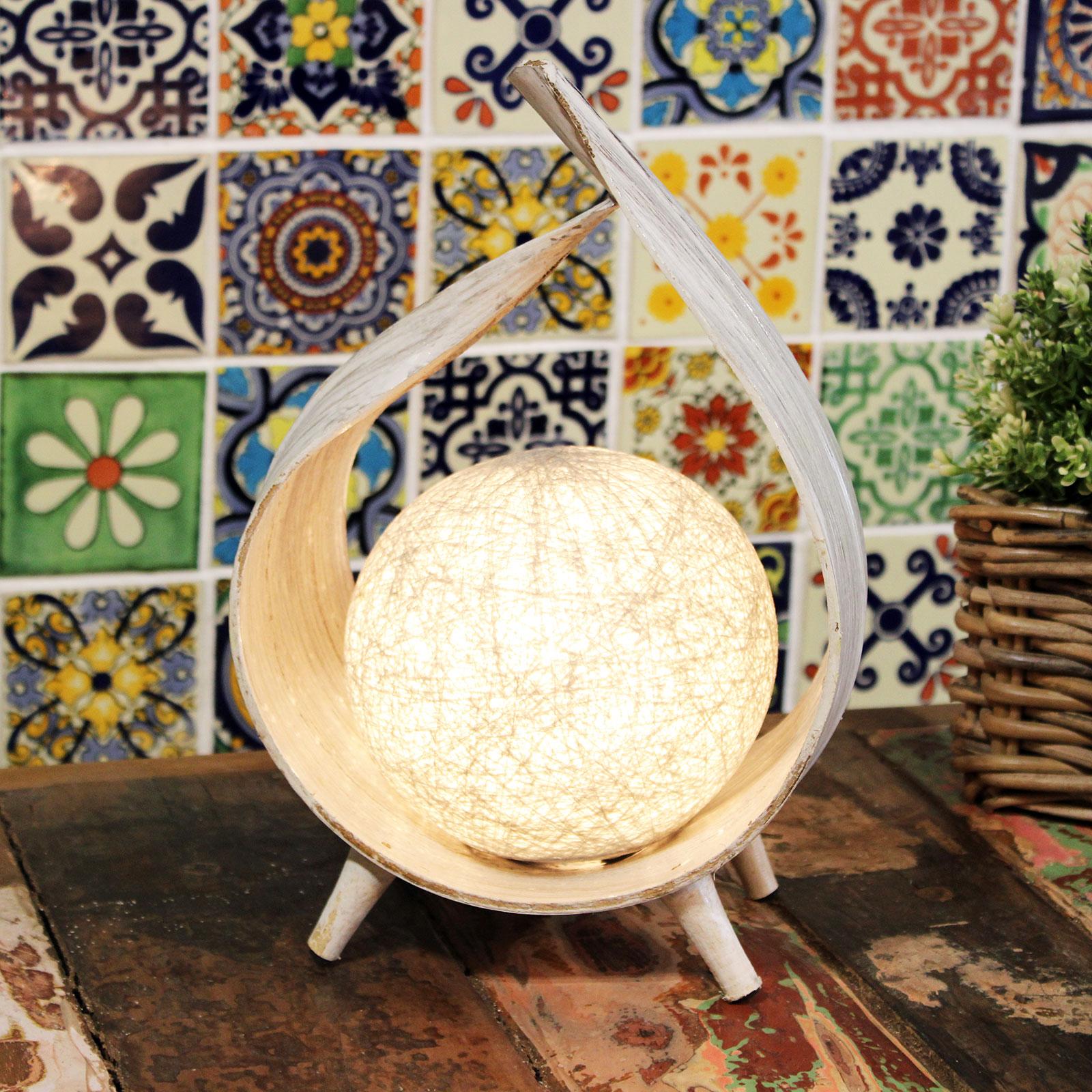 Whitewash Wrapover Coconut Lamp