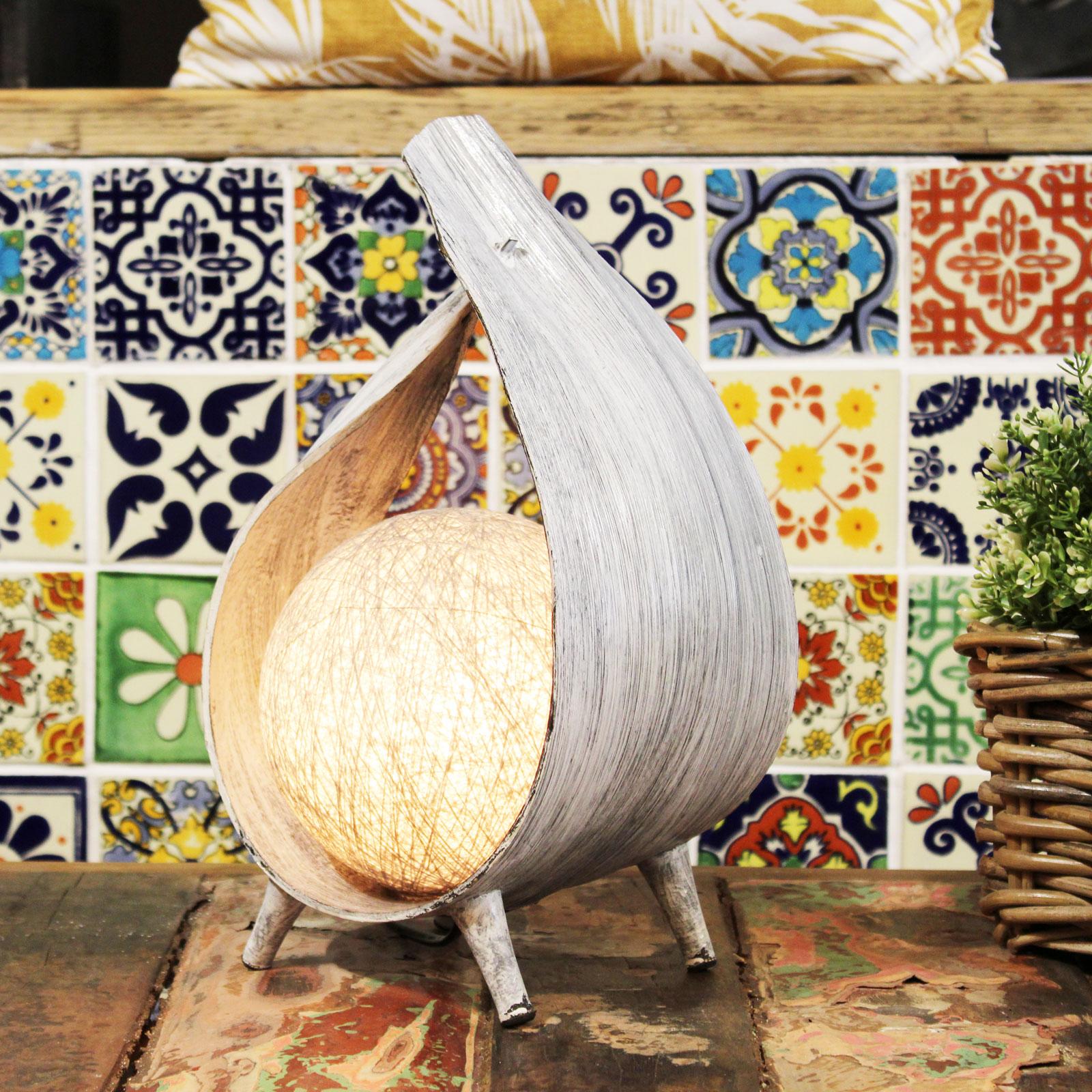 greywash wrapover coconut lamp