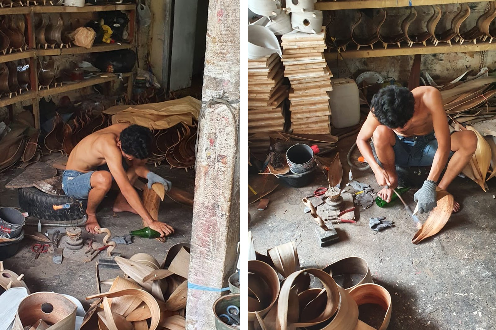 making coconut lamps in Bali