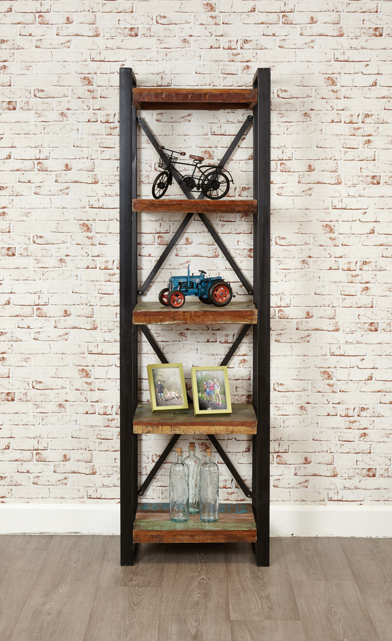 urban chic open bookcase for an alcove