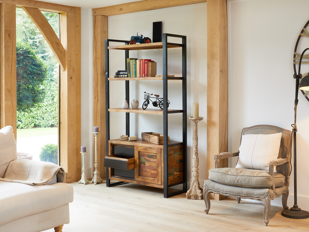 urban chic large bookcase with additional storage
