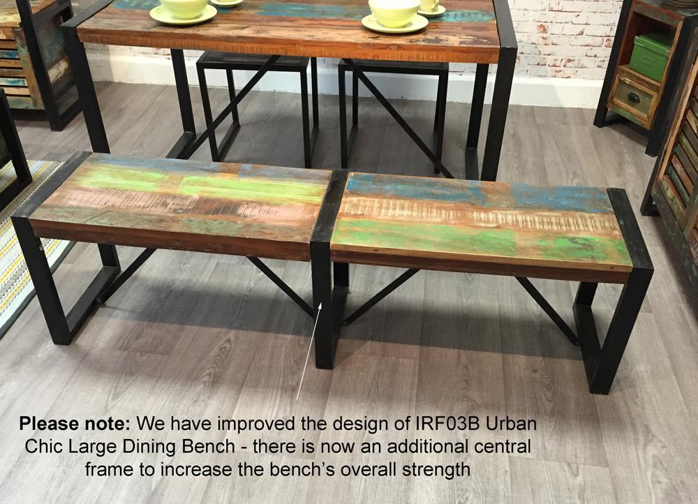 urban chic dining bench for three