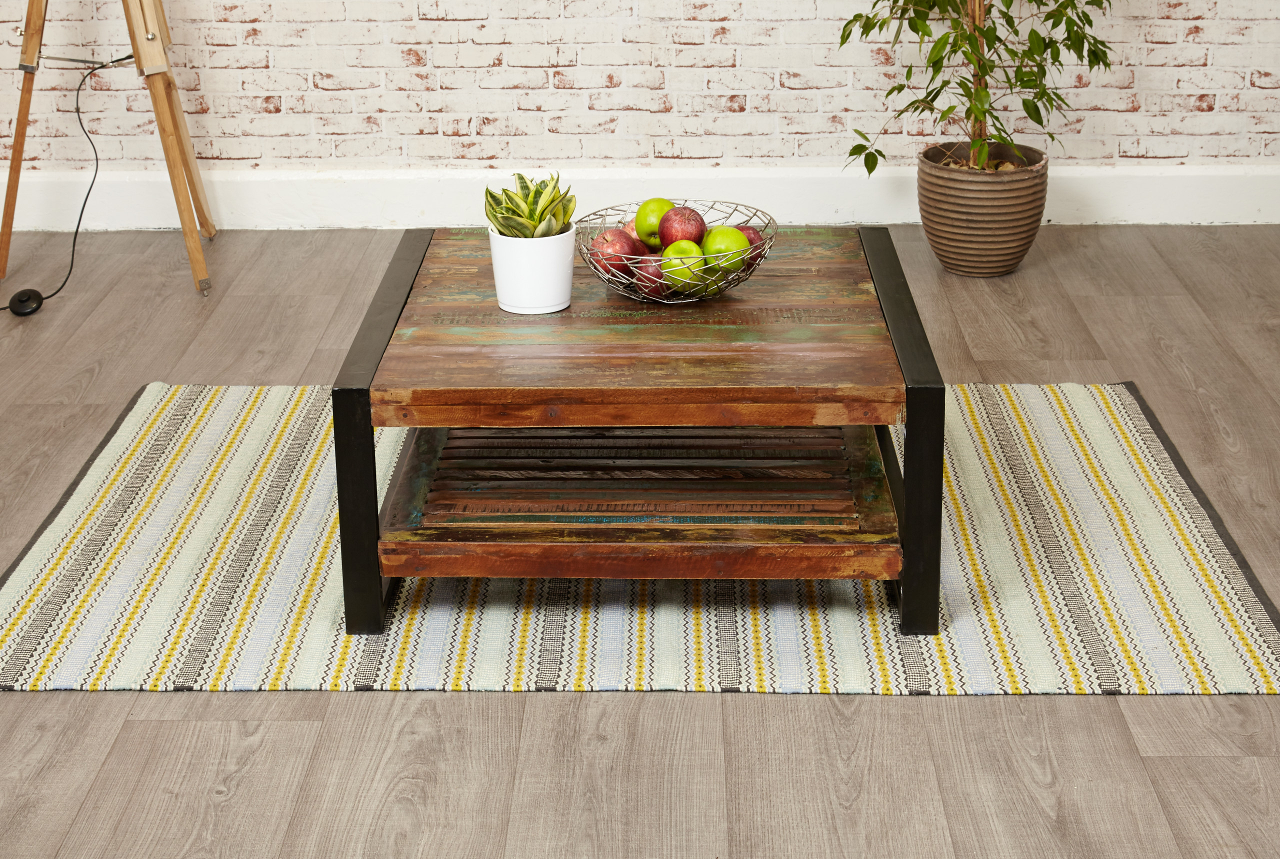urban chic square coffee table with low-level shelf