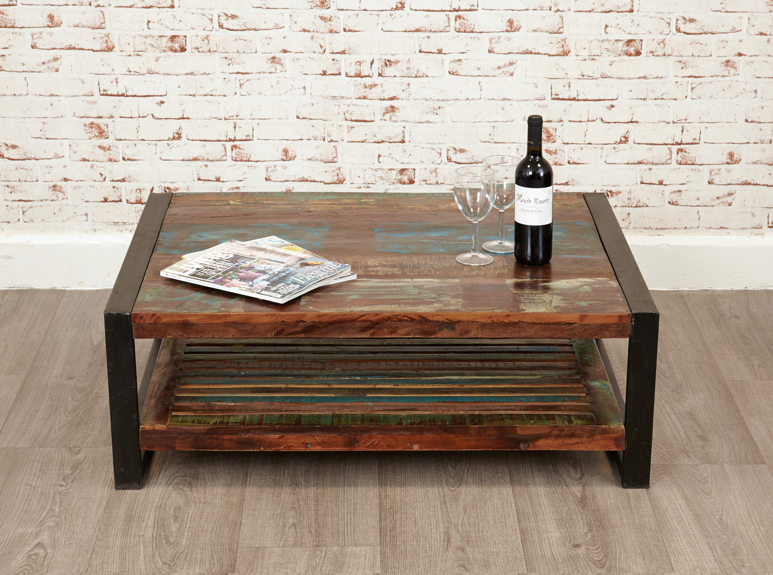 urban chic large coffee table with low-level shelf