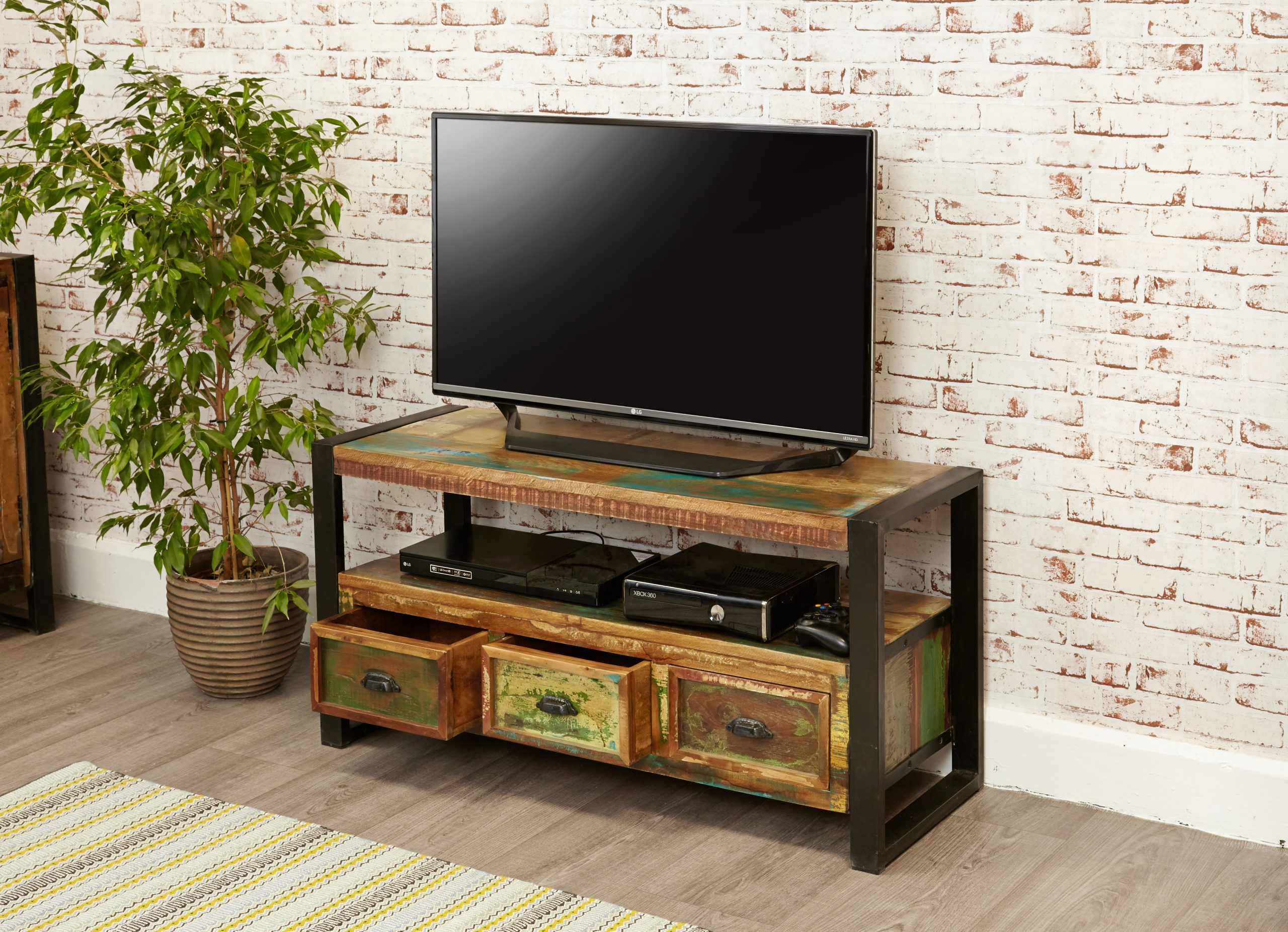 urban chic open television cabinet with drawers