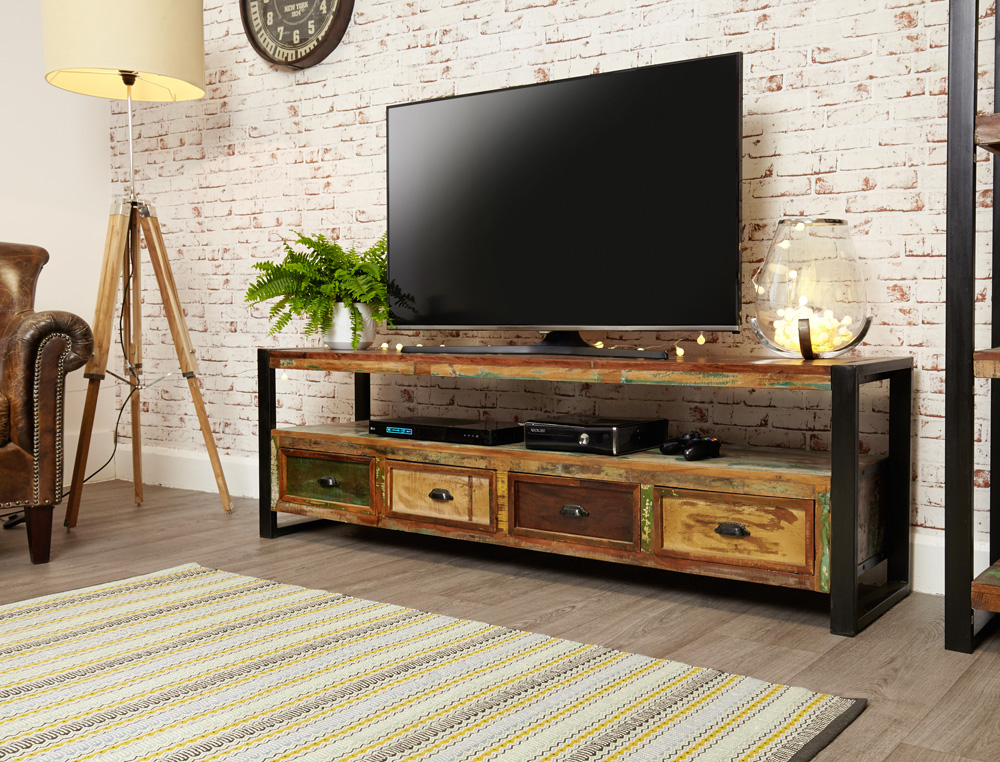 urban chic open widescreen television cabinet with drawers