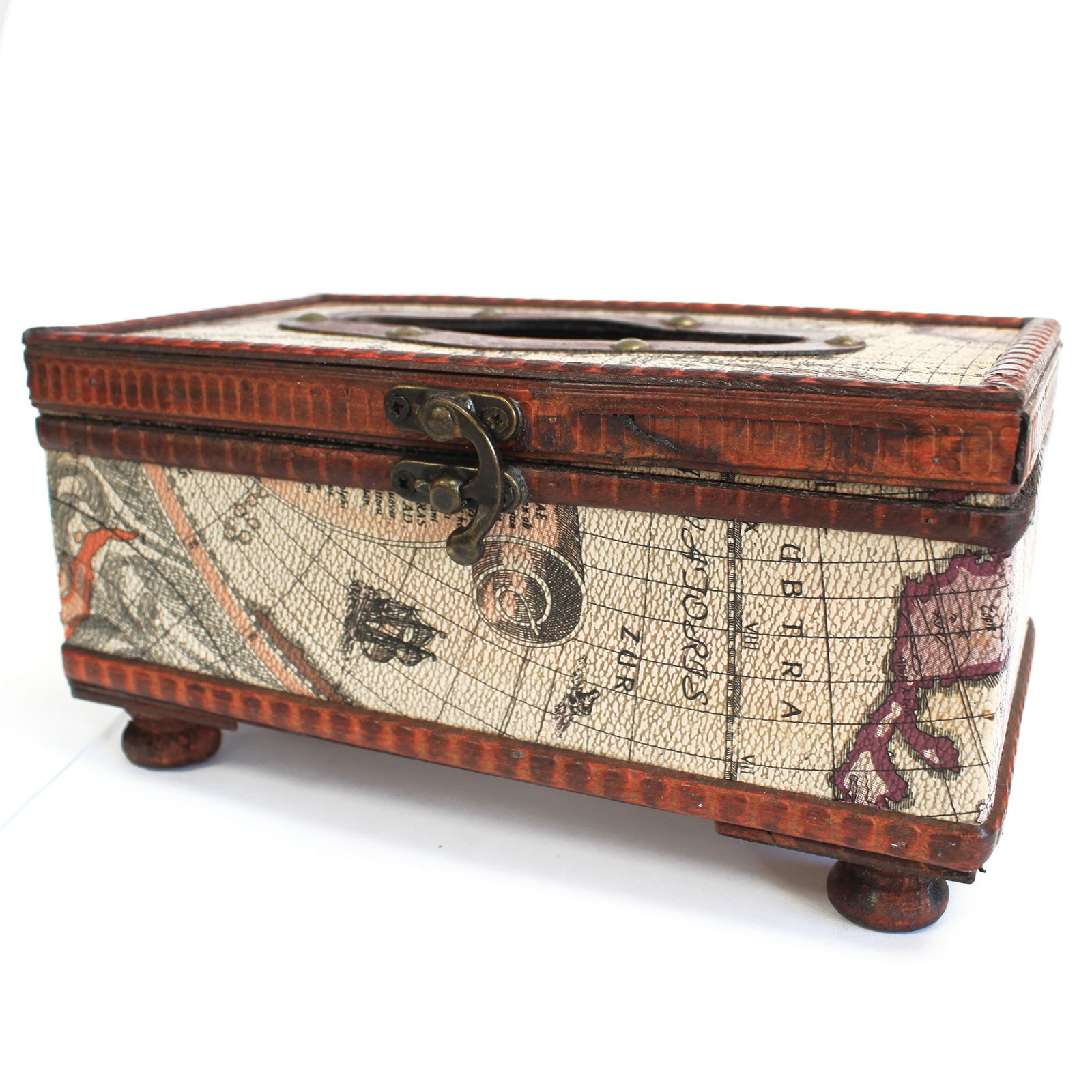old map style tissue box