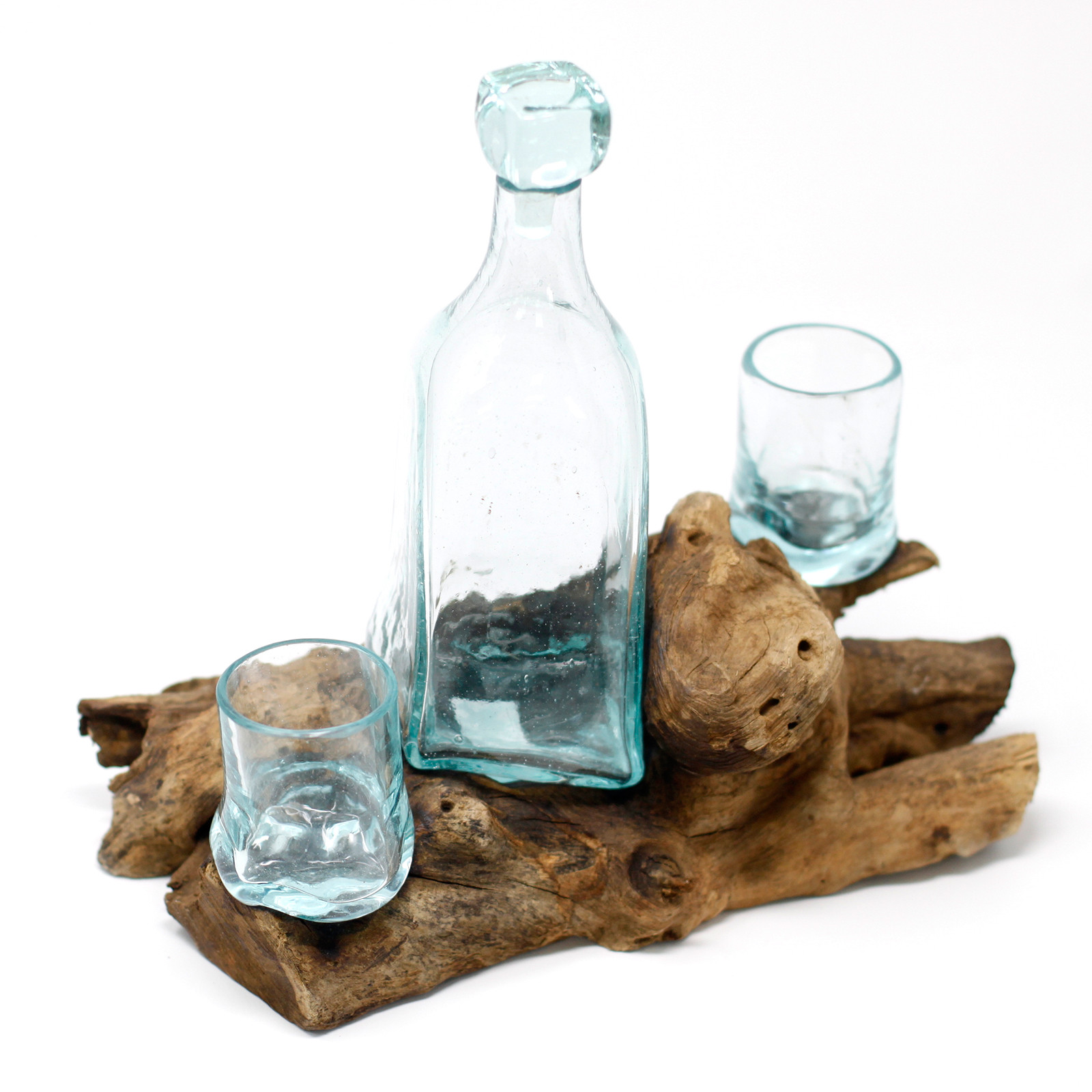 Molten Glass on Wood Whiskey Set