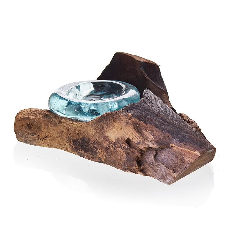 Molten Glass on Wood Candle Holder