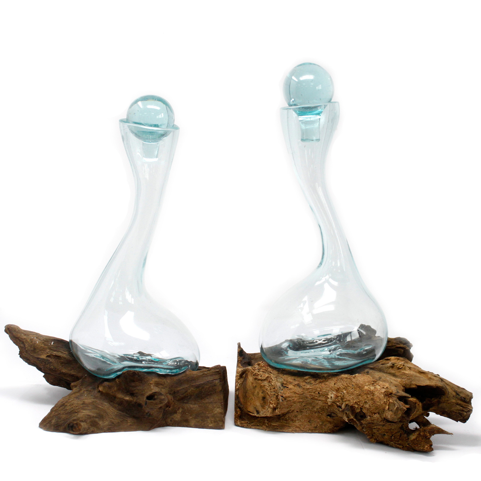 A pair of Molten Glass on Wood Wine Decanters